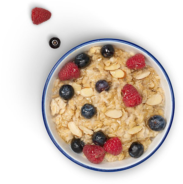 Bowl of oatmeal made with Lactaid® Lactose Free Protein Milk with berries and sliced almonds
