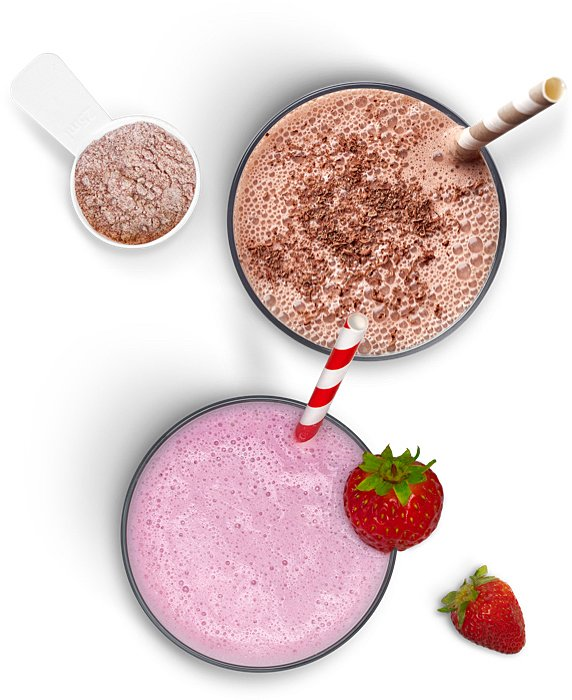 Lactose Free chocolate protein shake and strawberry smoothie made with Lactaid® Protein Milk