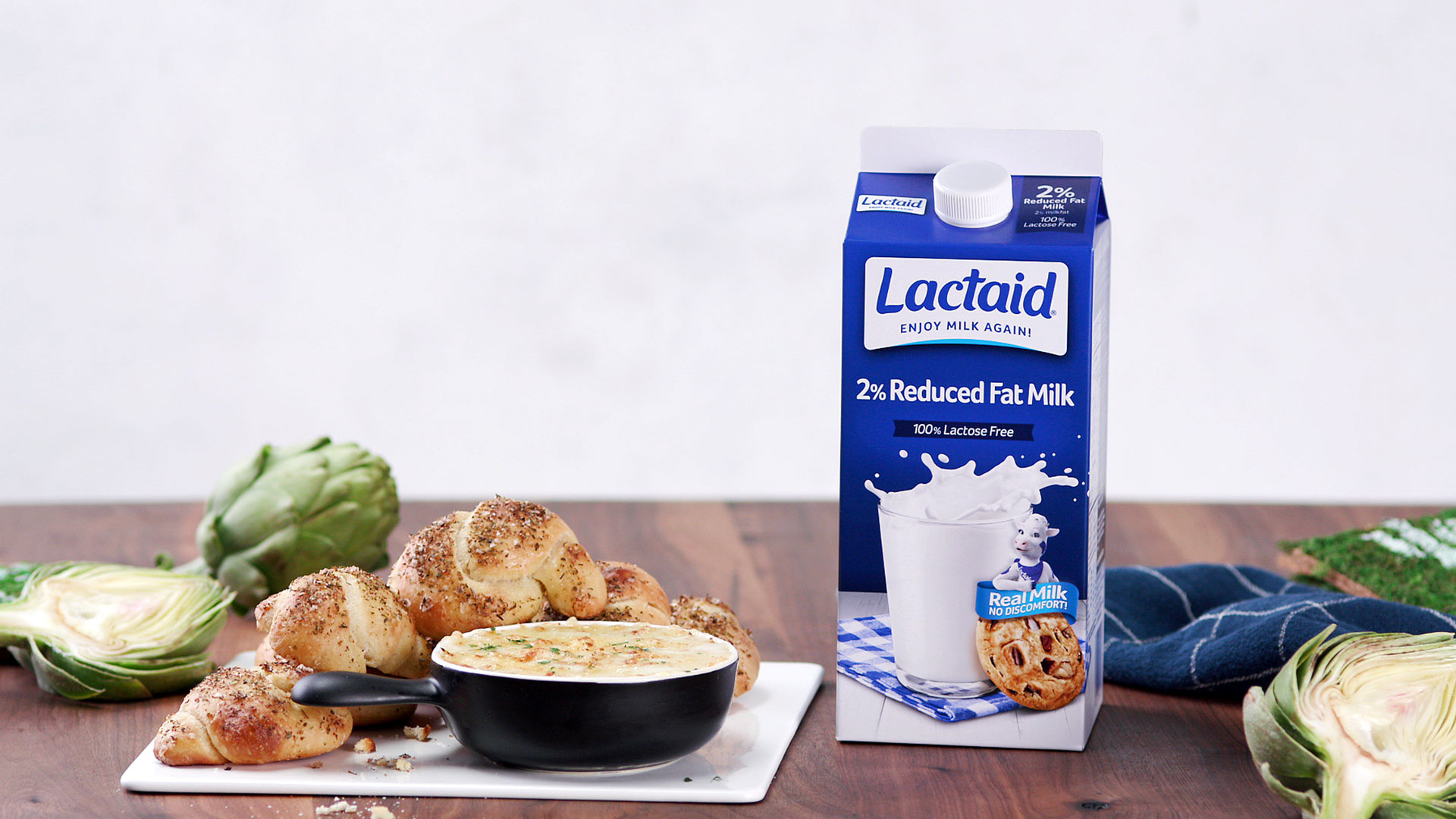 Artichoke Dip and Garlic Knots made with Lactaid®