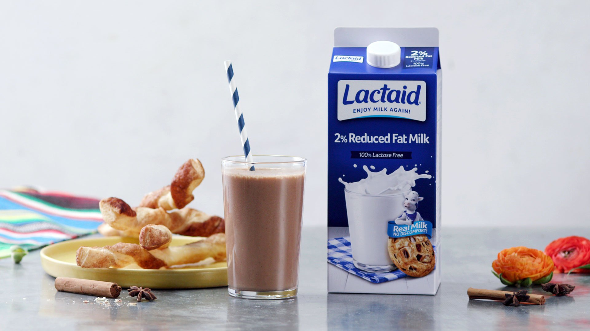 Frozen Champurrado and Cinnamon Twists made with Lactaid®