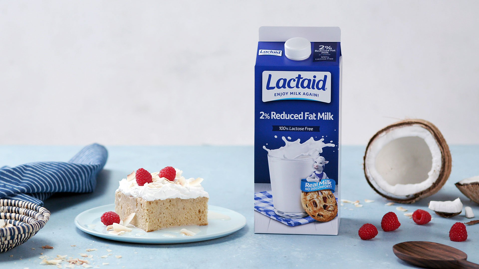 Toasted Coconut Tres Leches Cake made with Lactaid®