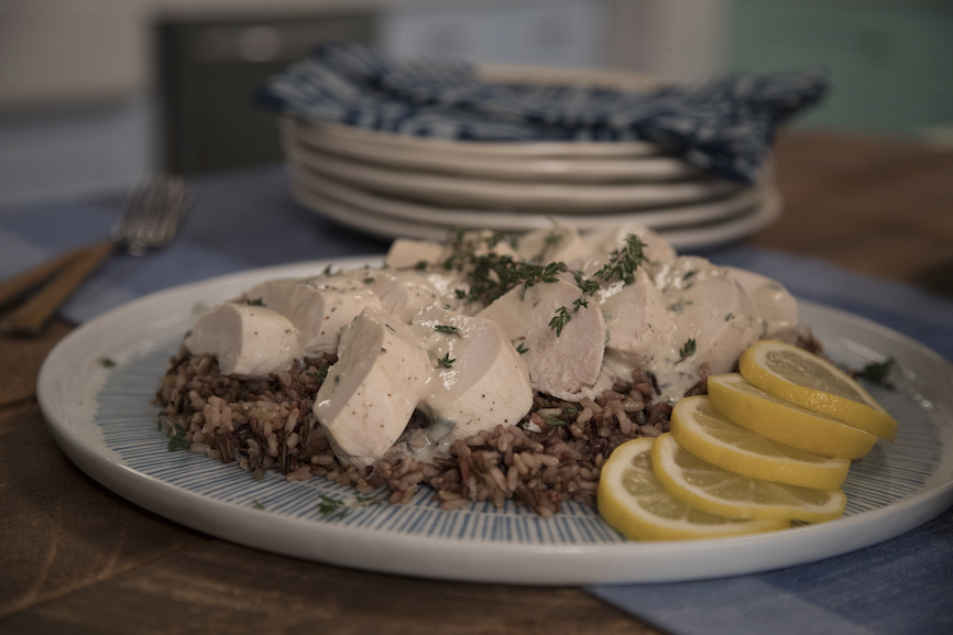 Creamy Poached Chicken with Lemon and Thyme