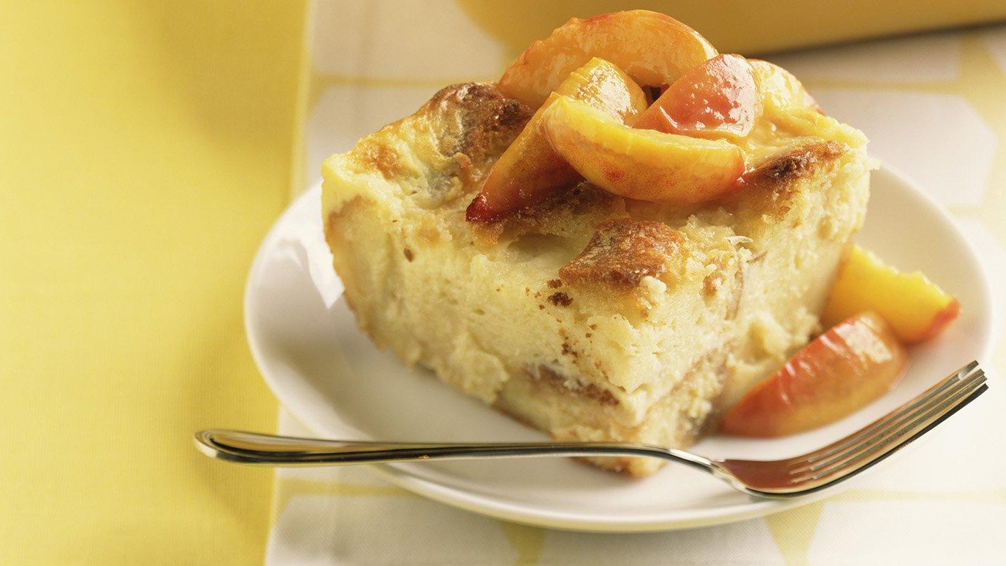 Peach Brioche Bread Pudding Recipe Made with LACTAID® Milk
