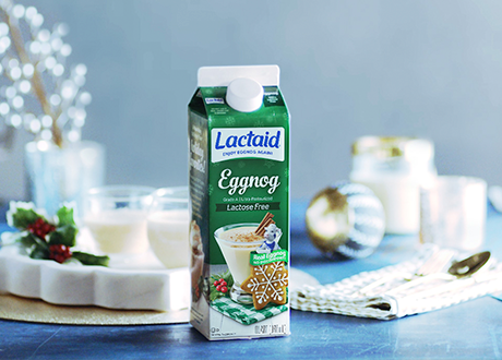 Lactaid eggnog on counter