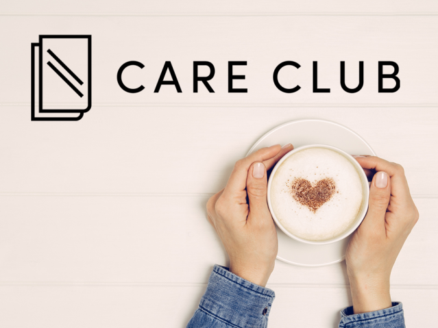 Hands holding a coffee and the care club logo